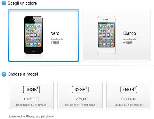 prezzo in italia iphone 4s nei 3 modelli 16, 32 e 64 Gb