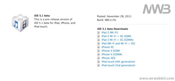 aggiornamento ios 5.1 beta tutti i prodotti che verranno aggiornati