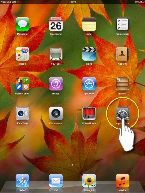 configurare mail su ipad 2, schermata principale impostazioni