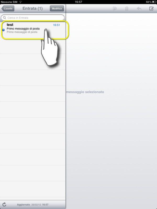 configurare mail su ipad 2, selezioniamo l'intestazione della nostra mail nella colonna di sinistra