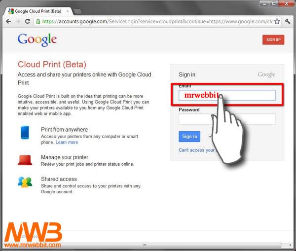 07-accediamo al nostro profilo google per stampare con android