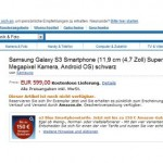 samsung galaxy s3 i pre-ordini su amazon germania