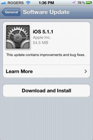 aggiornamento apple ios 5.1.1 rilasciato da apple per iphone