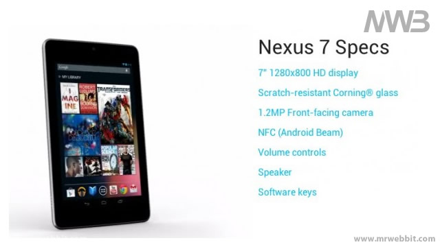 tutte le specifiche tecniche di google nexus 7