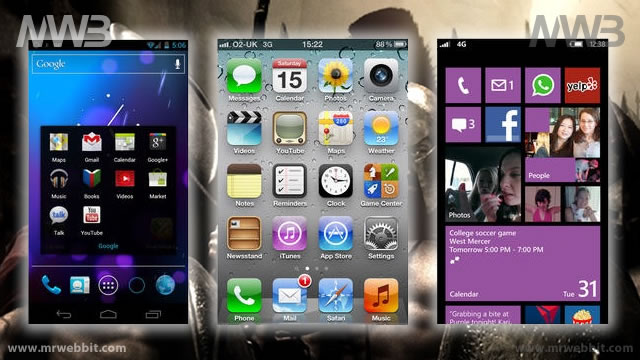 Differenze fra iOS 6,  Android 4.1 e Windows Phone 8