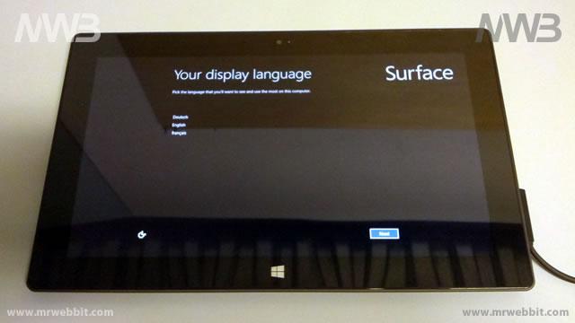 windows 8 surface 32Gb prima accensione