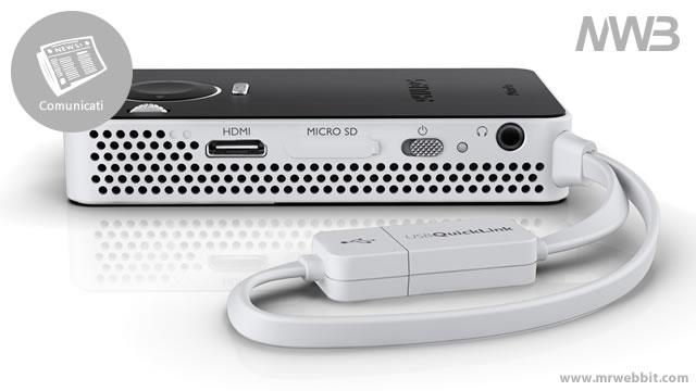 collegamenti posteriori proiettore per smartphone ultracompatto